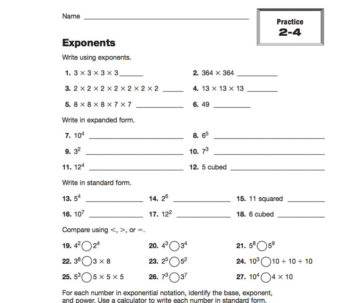 worksheet Exponents Worksheets 5th Grade exponents teachervision worksheets