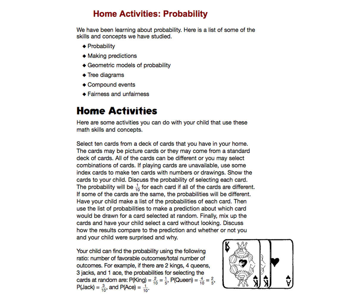 Home Activities: Probability