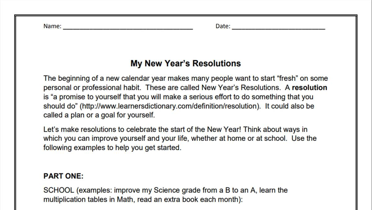 My New Year Resolutions (3-6). WORKSHEETS