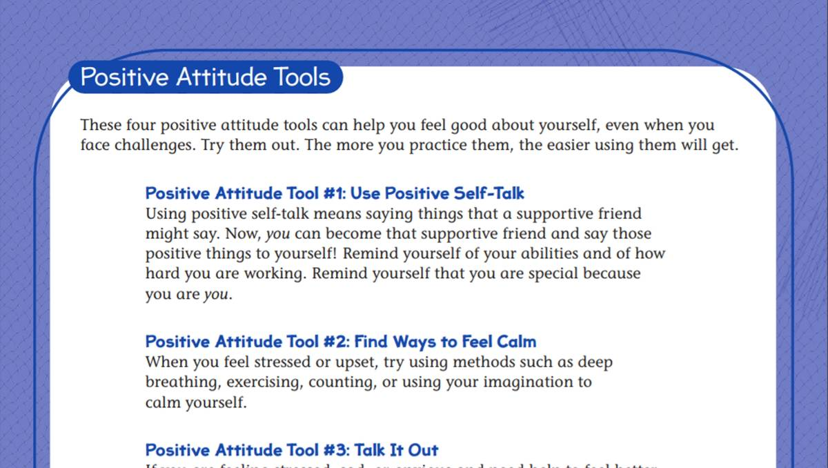 Worksheets Positive Behavior Worksheets tools for a positive attitude student worksheet teachervision