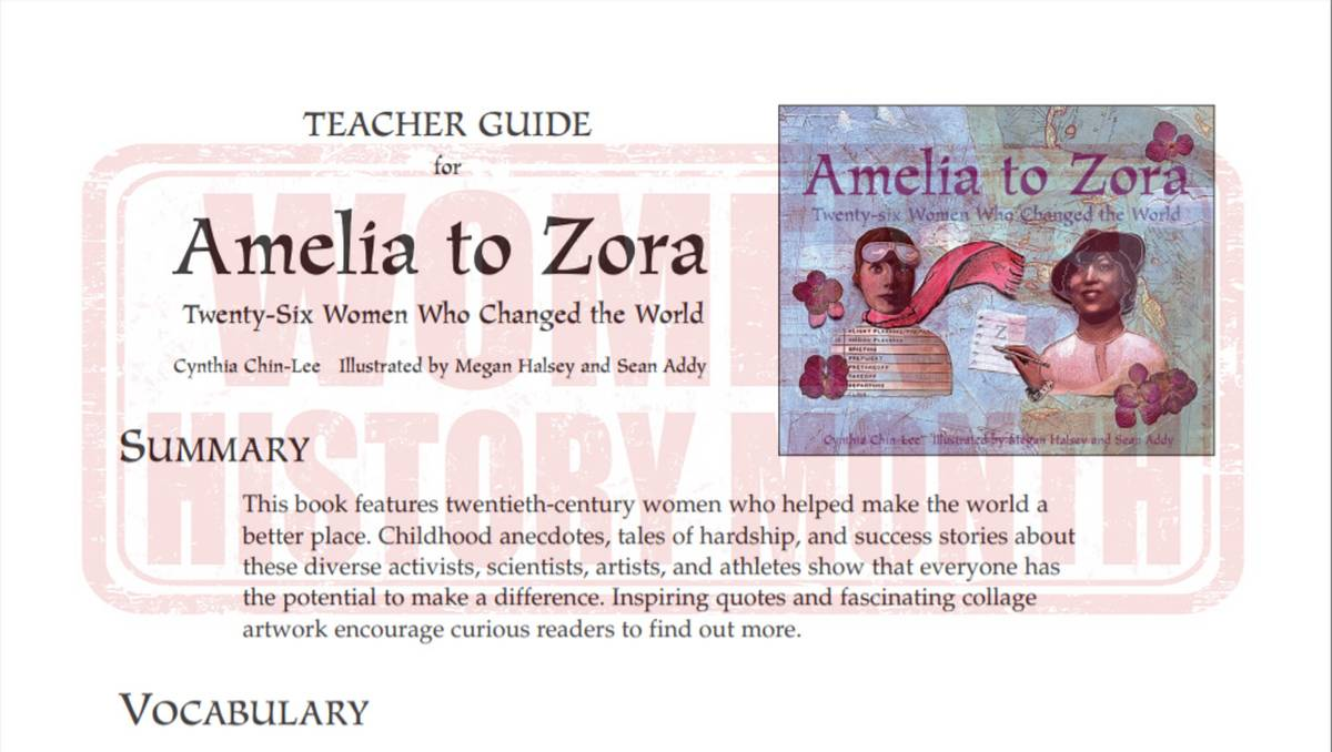 Amelia to Zora Teaching Guide