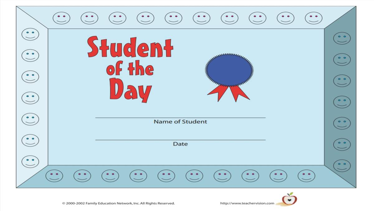 Student of the Day Award - TeacherVision