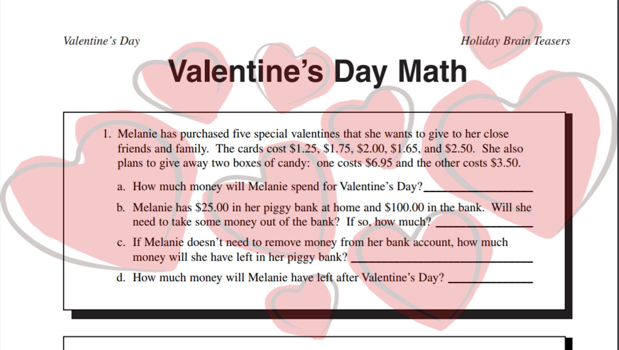Valentine's Day Math Word Problems