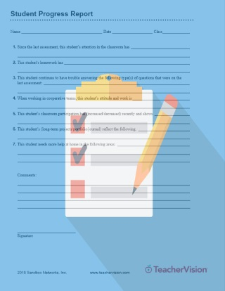 Student Progress Report: Printable Tool for Teachers (Grades 3-12 ...