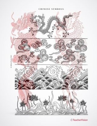 Color these Chinese New Year symbols for a bulletin board!