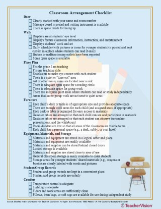Must-have classroom arrangement checklist from TeacherVision