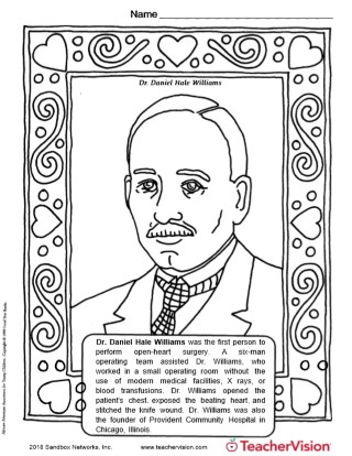Dr. Daniel Hale Williams Coloring Page