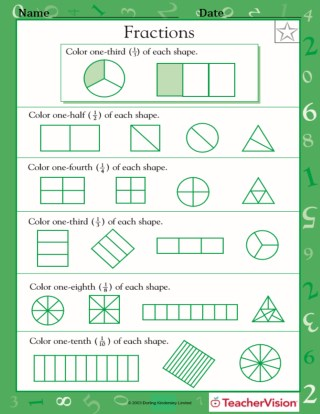 Parts Of A Set  Math Practice Worksheet Grade   Teachervision Fractions Of Shapes Worksheets