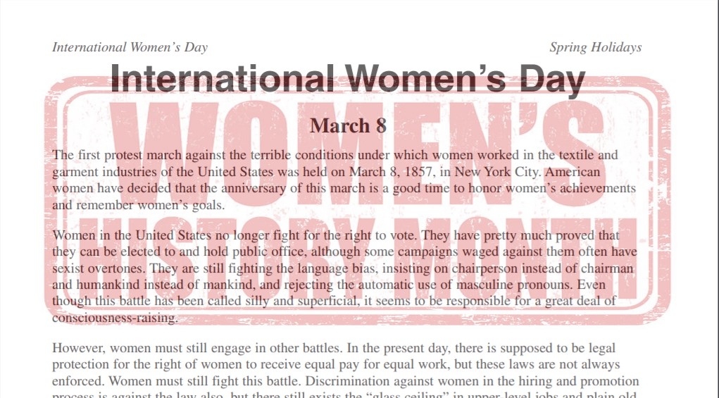 International Women's Day Worksheet
