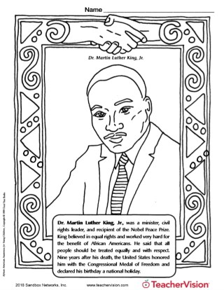 photograph regarding Martin Luther King Jr Coloring Pages Printable known as Martin Luther King Jr Coloring Website page - TeacherVision
