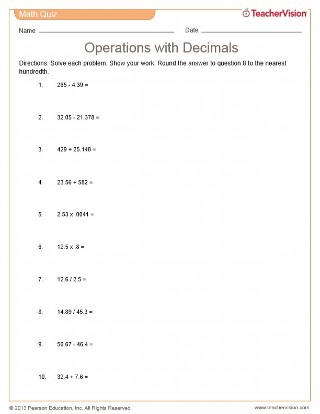 Operations with Decimals Quiz