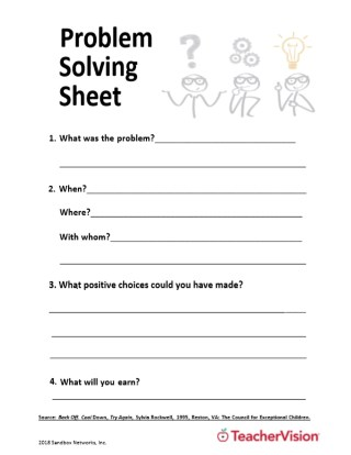 Problem Solving Sheet Teachervision