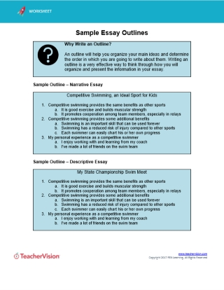 Essay Outline Howto For Students  Teachers  Teachervision