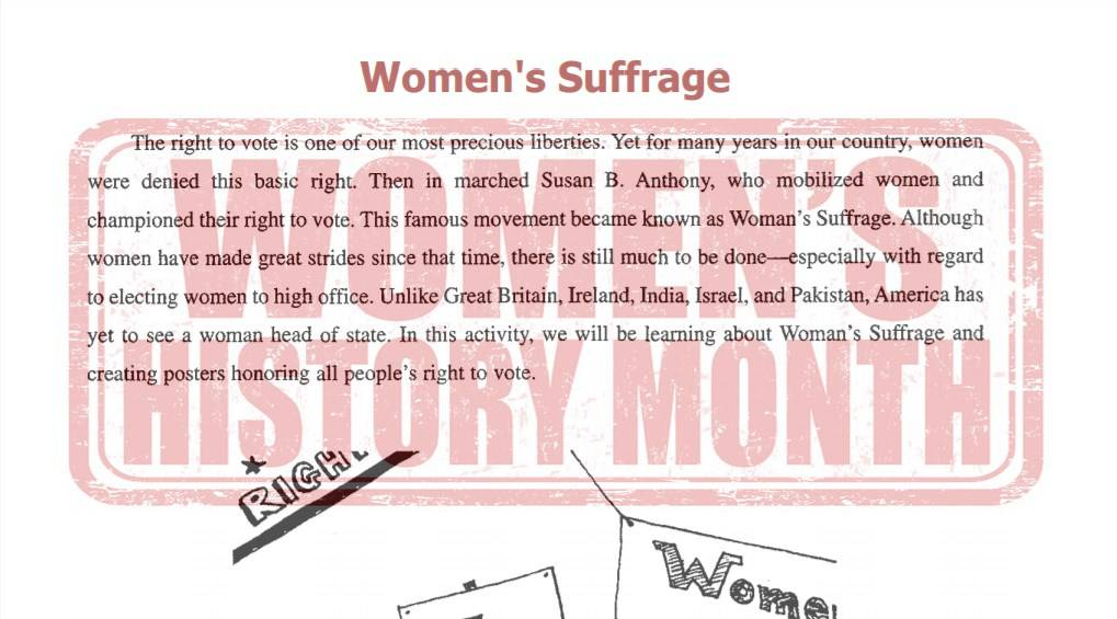 Women's Suffrage Art Project Cover Image