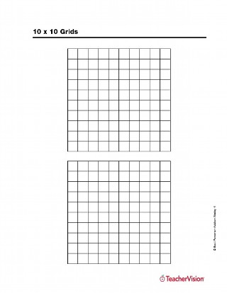 image relating to 10x10 Grids Printable known as 10 x 10 Grids - TeacherVision