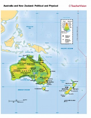 Political and Physical Map of Australia and New Zealand - TeacherVision