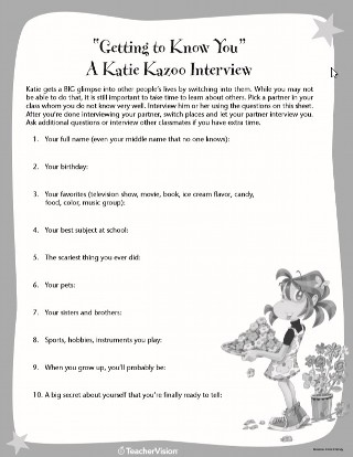 Katie Kazoo Getting to Know You Icebreaker Interview Sheet