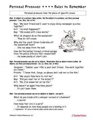 Personal Pronouns Printable 4th 6th Grade Teachervision