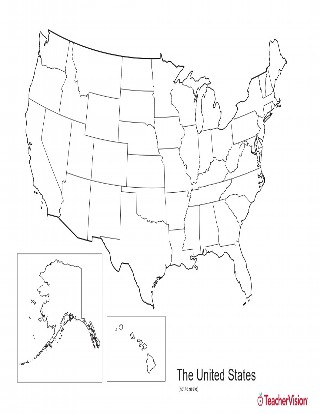 Blank Black and White Map of the U.S. with State Outlines