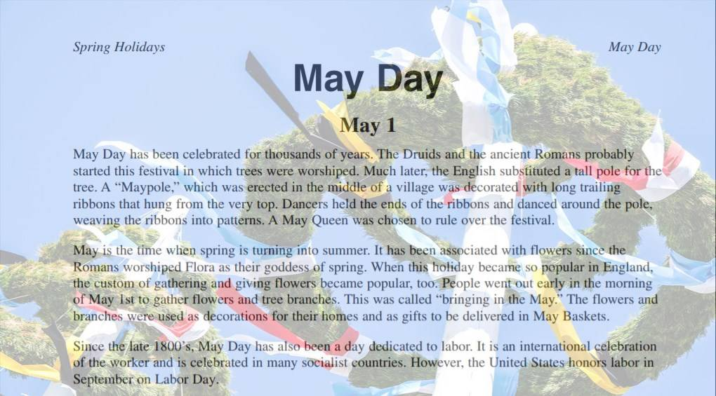 May Day Activities: Maypole and May Baskets