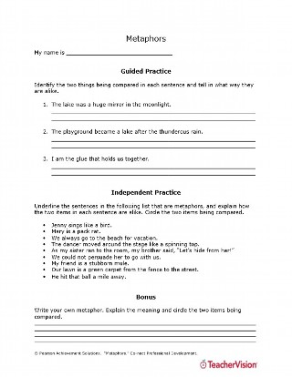 Writing Metaphors Guided and Independent Activities Worksheet