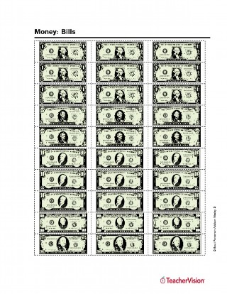 graphic regarding Fake 1000 Dollar Bill Printable known as Monetary: Printable Greenback Expenses - TeacherVision