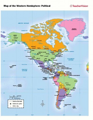 political map of the western hemisphere