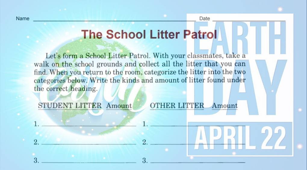 School Litter Patrol Activity Worksheet