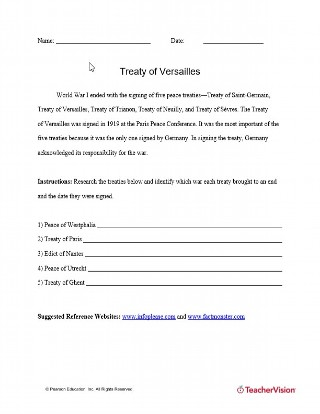 Treaty of Versailles Quiz and Activity
