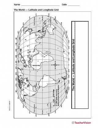 Latitude and Longitude Map - TeacherVision