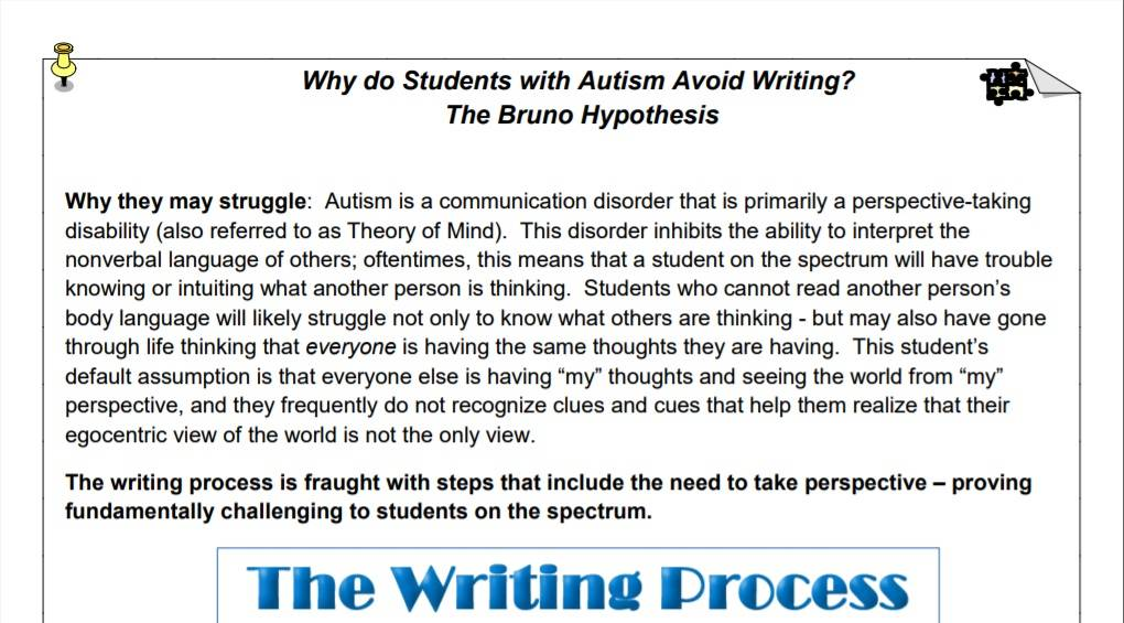 Writing Avoidance in Students with Autism