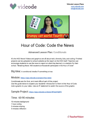 Code the News Beginner Hour of Code Lesson Plan from Vidcode
