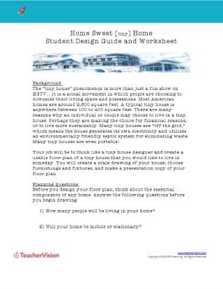 Home Sweet (Tiny) Home Student Design Guide