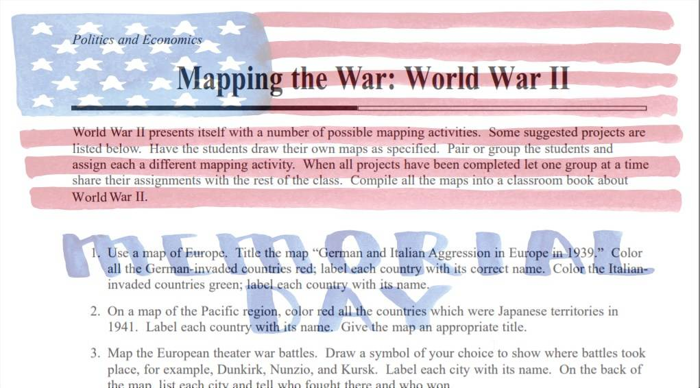 Mapping World War II Activities and Projects