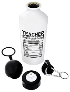 Teacher Nutrition Label Aluminum Water Bottle