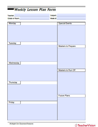 Weekly Lesson Plan Form from TeacherVision