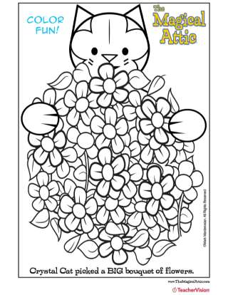 Magical Attic Crystal Cat Bouquet Coloring Page