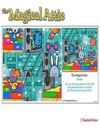 Magical Attic Disco Dance Cutout Puzzle