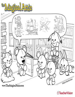 Magical Attic Storytime Friends Coloring Page