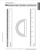 Centimeter Ruler, Inch Ruler, and Protractor