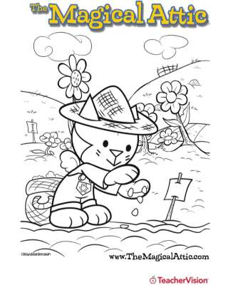 Magical Attic Looner Bunny Garden Coloring Page