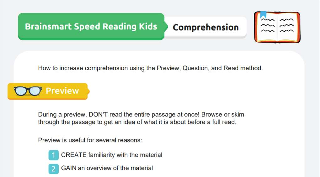 Speed Reading Skills with Preview, Question, and Read Method