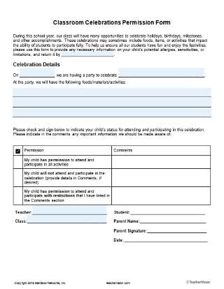Editable Classroom Celebrations Permission Form