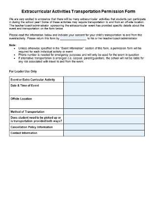 Editable Extracurricular Activities Transportation Permission Form Chart