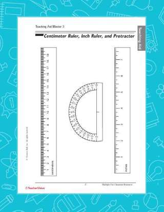 Multipurpose Printable Centimeter Ruler, Inch Ruler, Protractor