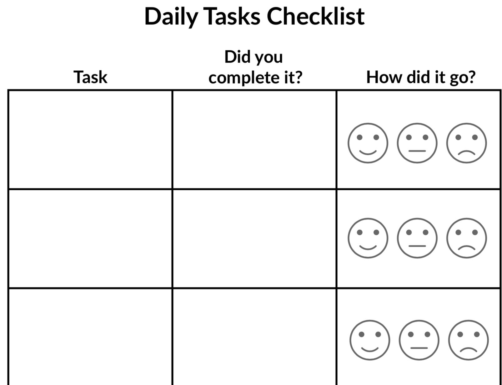 Daily Tasks Checklist Image