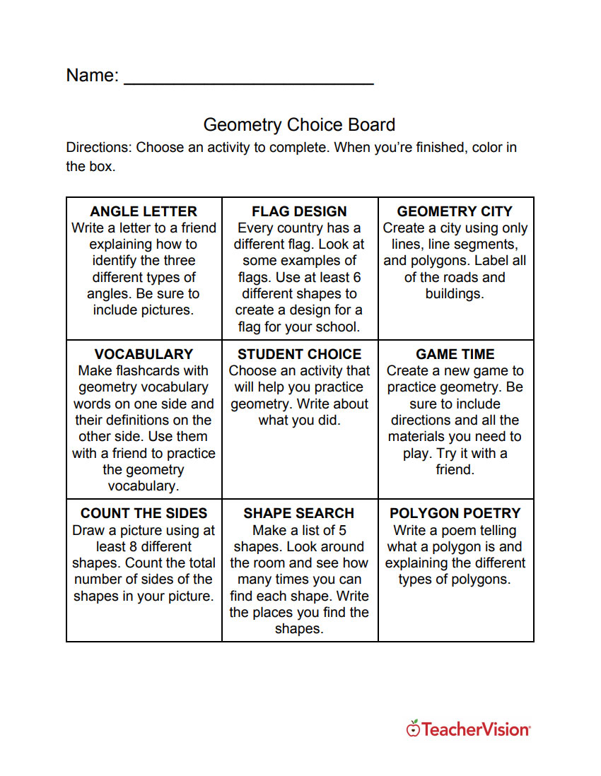 Geometry Choice Board