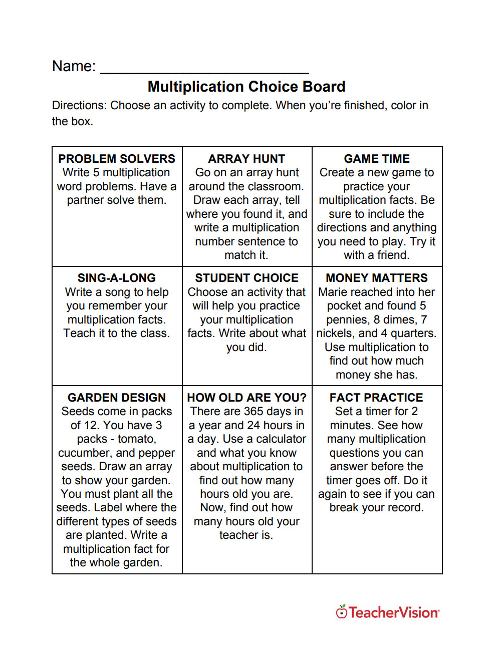 A choice board with nine multiplication activities