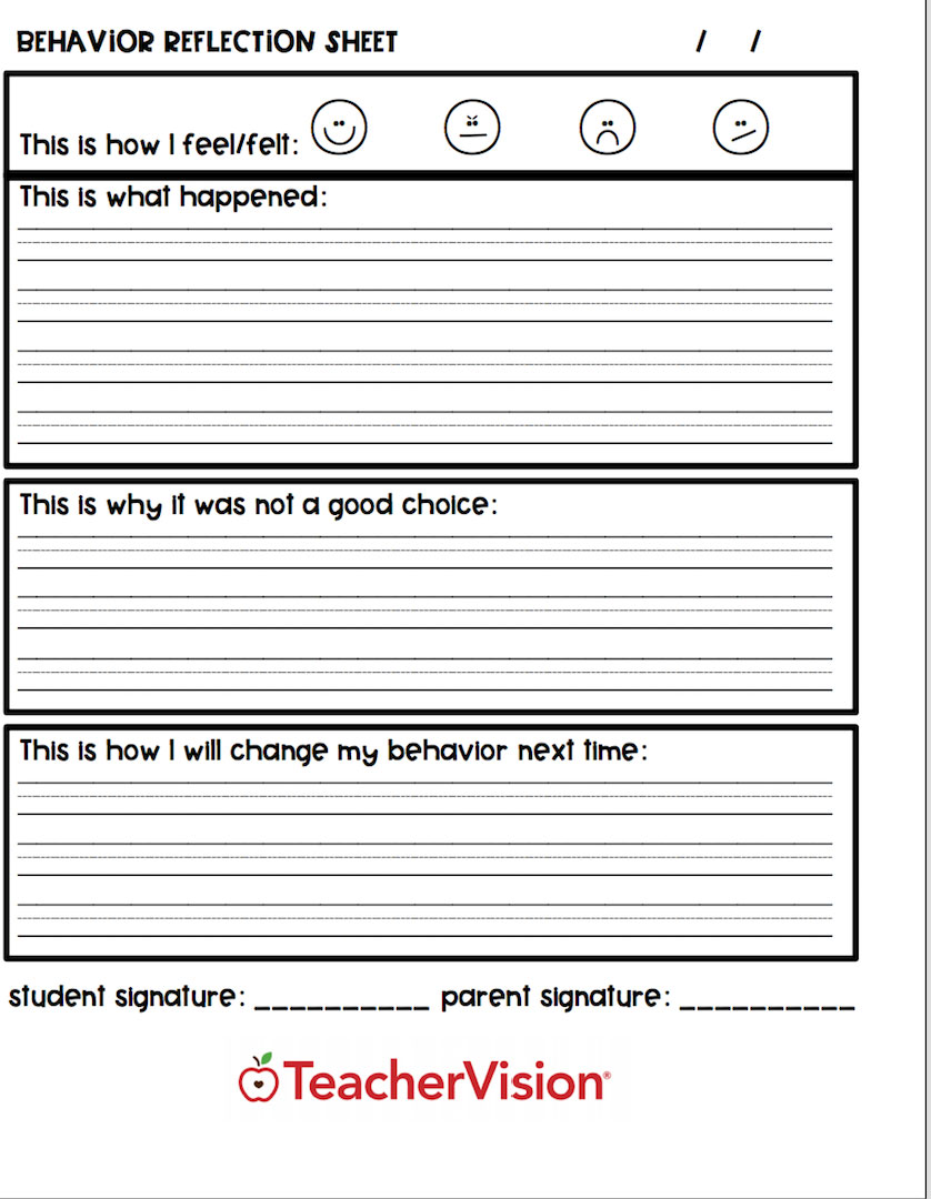 A graphic organizer for students to reflect on their classroom behavior