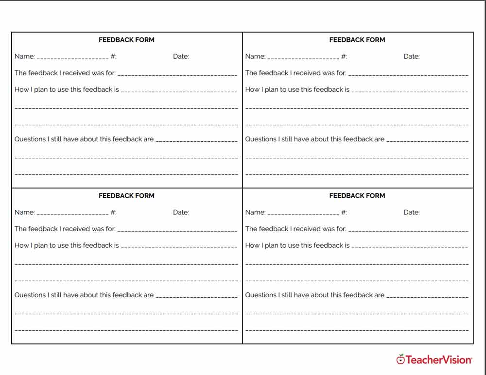 Students use this form to respond to a teacher's feedback